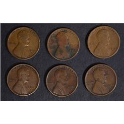 ( 6 ) 1912-S LINCOLN CENTS G/F