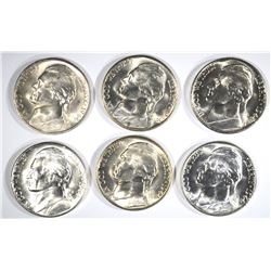 6-GEM BU 1944-S SILVER JEFFERSON NICKELS