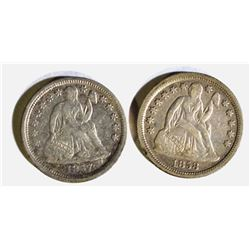 1857 & 58 SEATED DIMES, XF