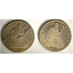 SEATED HALF DOLLARS;1858-O VG & 1874