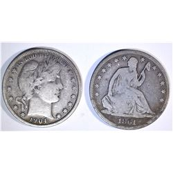 1861-S SEATED VG & 1904 BARBER VG HALF DOLLARS