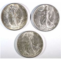 3-1945-S WALKING LIBERTY HALVES CH BU BETTER DATE