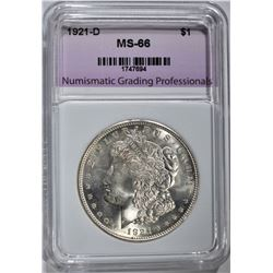 1921-D MORGAN DOLLAR, NGP SUPERB GEM BU