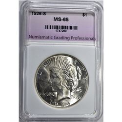 1926-S PEACE DOLLAR, NGP GEM BU