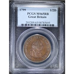 1799 1/2 D GREAT BRITAIN PCGS MS65RB