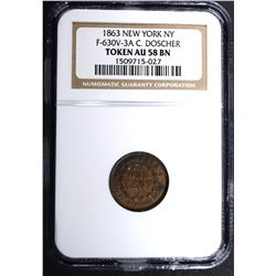 1863 NEW YORK N.Y. CIVIL WAR TOKEN, NGC AU-58 BN