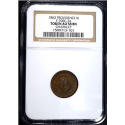 1863 PROVIDENCE R.I. CIVIL WAR TOKEN, NGC AU-58 BN