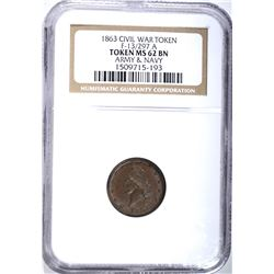 1863 CIVIL WAR TOKEN F-13/297A, NGC MS-62 BN