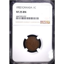 1922 CANADIAN CENT, NGC VF-25 BN