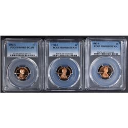 3 PROOF LINCOLN CENTS PCGS PR-69RD DCAM