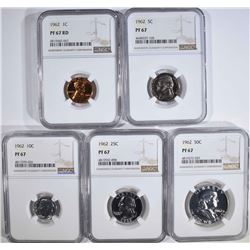 1962 PROOF SET, ALL COINS NGC PF-67