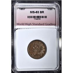 1857 HALF CENT, WHSG  CH BU BROWN