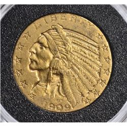 1909 $5.00 GOLD INDIAN, CH BU