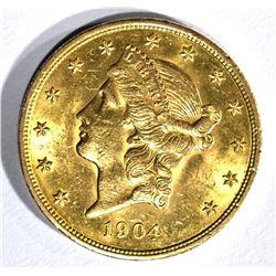 1904 $20.00 GOLD LIBERTY, AU/BU