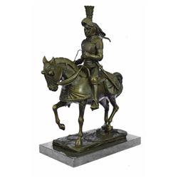Knight Warrior Bronze Statue on Marble Base Sculpture