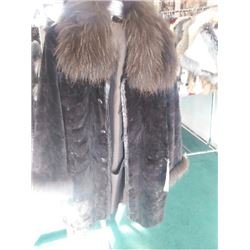 BROWN DYED SHEARED MINK COAT