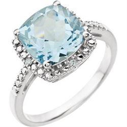 JEWELRY - BLUE TOPAZ DIAMOND RING