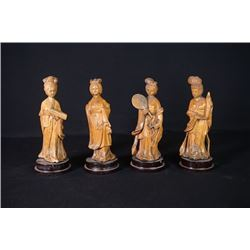 "A Group of Four Wood Carve ""Lady"" Decoration."