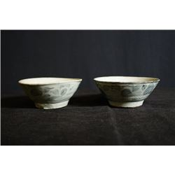 """A Late Qing Dynasty """"Yu Xi"""" Kiln Blue-and-White. Two Small Bowls."""