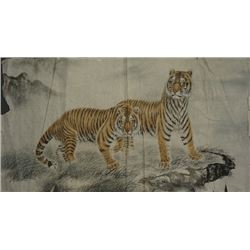 """A Chinese Ink Painting """"Two Tigers""""."""