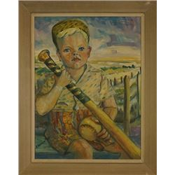 """A.Warren Oil Painting """"Boy with a baseball bat"""" and """"Girl in the Sunflower Field."""