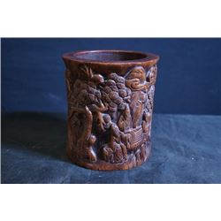 """A Small Wood Carved """"Immortal"""" Brush Pot"""