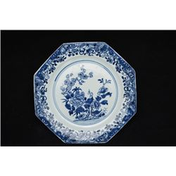 """A Qing Dynasty """"Kang Xi"""" Export Blue-and-White """"Floral"""" Pattern Octagonal Plate."""