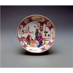 """A Fine Famille - Rose"""" Flowers and Figures"""" Dish."""