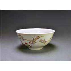 """A Famille-Rose """"Flowers and Birds"""" Bowl."""
