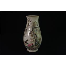 "A Enamel ""Floral and Birds"" Vase."