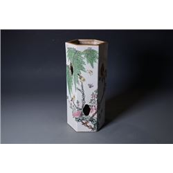 """An Early 20th Century Famille-Rose """"Flora and Birds""""  Brush Pot."""