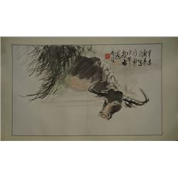 """A Chinese Ink Painting """"Water Buffalo""""."""