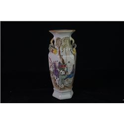 "A Famille-Rose ""Boys and Birthday Congratulations"" Pattern Hexagonal Vase."