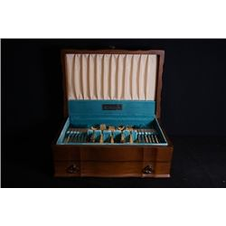 A 1847 Rogers Bros, Canada Gildin Tableware with Original Wood Box.