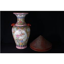 "A Large Colour Enamels ""Floral and Bird"" Pattern Vase with Two Ears."