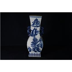 "A Large Blue-and-White ""Landscape"" Pattern Square Vase with Two Ears."