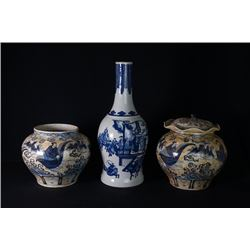"A Blue-and-White ""Figure"" Vase and Two Blue-and-White ""Figure"" Jar and Cover."