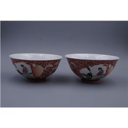 "A Pair of ""Jing De Zhen Ming Ci"" Mark ""Floral and Figure"" Pattern Bowls."