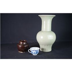 A Large Celedon Glaze Vase, a Brown Glaze Jar and a Blue-and-White Tea Cup.