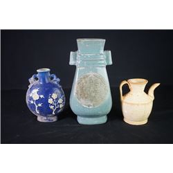 "A Square Vase with Two Ears, A ""Floral"" Pattern Vase and A Opaque Glaze Ewer."