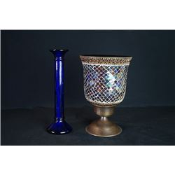 A Mosaic Ice Bucket and a Glass Candlestick.