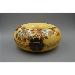 "A Wood Carved ""Floral""  Pattern Round Lacquer Box."