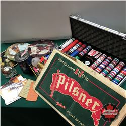 Retro Bar Items (Large Variety) in Pilsner Box w/Poker Chip Travel Case