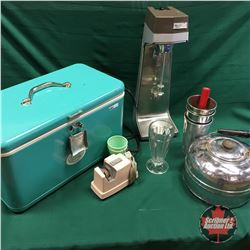 Thermos Ice Chest (Teal) with Contents (Milk Shake Maker, Kettle, Knife Sharpener, etc)