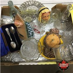 Tray Lot: Variety Glassware, Clock, Decanter, Bosson Head (Chipped), etc