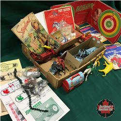 Tray Lot: Children's Western Theme Toys & Ephemera (Figurines, Targets, Wagon, Horses, etc)
