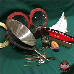 Tray Lot: Nautical Theme - Portholes, Fishing Reel, Sail Boat, 1800's French Oil Lamp Burner, Sailor