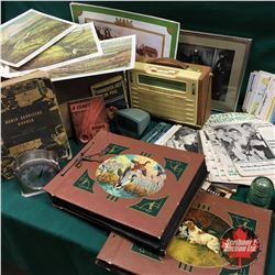 Fruit Wood Crate Lot: Radio, Photo Albums, Argus Previewer, Ephemera, Clock, Insulators, etc