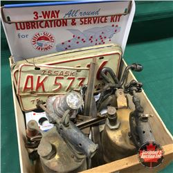 Fruit Wood Crate Lot: Lubrication & Service Kit Store Display, Lic Plates, Blow Torches, Gas Pump Pa