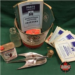 Esso Grease Pail Lot: Lic Plates, Hood Ornament, IH Manuals, Cream Separator Oil Tin, etc